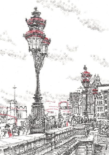 Keira_Rathbone_Typewriter_art_Putney_Bridge_Lamp_Portrait_NoteCARD_web